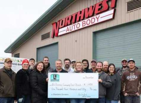 Northwest Autobody and Towing presented the Bonner Community Food Bank with a check for $1,450. Each year in November, Northwest Autobody donates $50 from every animal collision repair done throughout the month to help the food bank, as well as raise awareness about the increased number of animal collisions this time of year.