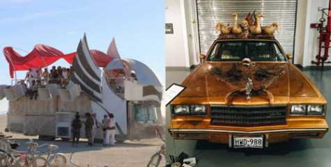 Left: The Heavy Meta Dragon art car, based in Canada. Right: A Chevy car known as 'Swamp Mutha,' created by collage artist, Ann Harithas.