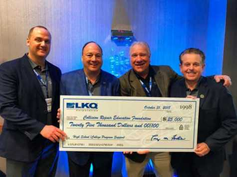 LKQ Corporation has continued its support of the collision industry education system with a $25,000 donation to the Collision Repair Education Foundation. Nick Zarcone, chief executive officer of LKQ (2nd from left) along with Justin Jude (left) and Terry Fortner (right) from LKQ, presented Clark Plucinski, executive director of the Foundation, with the donation in Las Vegas during the recent SEMA show.
