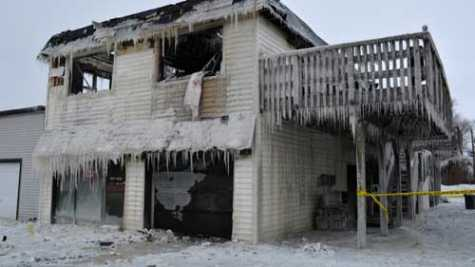 Now covered with icicles, Class A Auto Body in Bemidji, MN, was the site of a large structure fire the evening of Jan. 19. In addition to the auto body shop, the building included two apartment units.