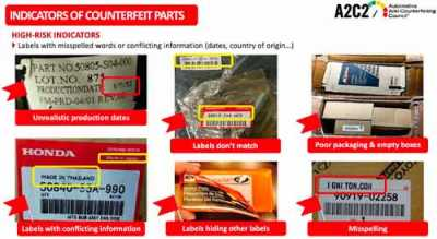 The Automotive Anti-Counterfeiting Council offers this visual guide to common indications an automotive part may be counterfeit.