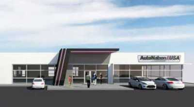 This is an artist rendering of an AutoNation USA pre-owned vehicle sales and service center.