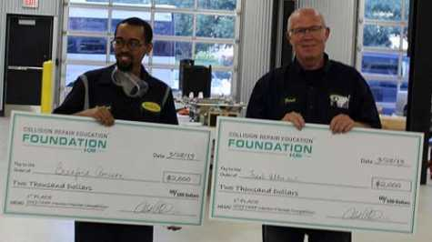 First place winners Bradford Amison (left) and mentor Frank Allen of Service King each received $2,500.