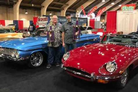 Harold Clay and Josh Billings in 2020 with the '61 Impala and '70 Jaguar.