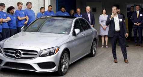 This Mercedes Benz car was donated to Automotive Training Center in Exton, PA, by Mercedes Benz USA to help battle the shortage of auto service technicians.