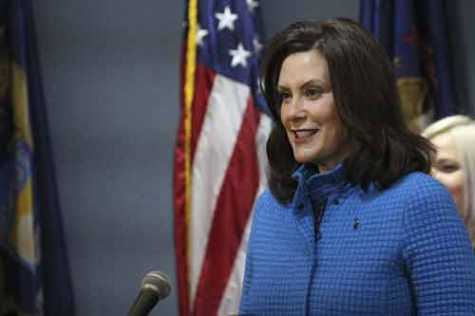 Gov. Gretchen Whitmer at a news conference May 18.