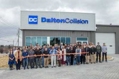 The team at Dalton Collision prior to the pandemic.