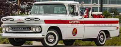 Honda decided to take this trip down memory lane with a recently restored 1961 Chevy truck to pay tribute to Honda's 60th year in the U.S.