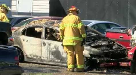 A car caught fire at a Springfield Township auto body shop.