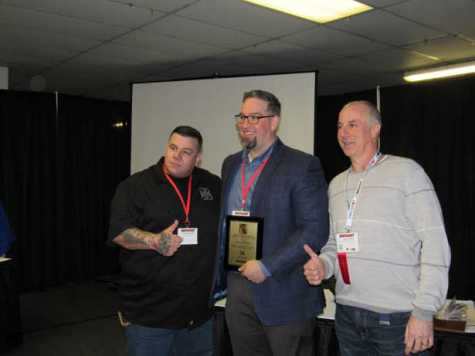 Recipient: SCRS Executive Director Aaron Schulenburg was honored as the recipient of the 2018 James Moy Memorial Award for Dedication to the Automotive Repair Industry (pictured left to right: Larry Montanez, Aaron Schulenburg, Jerry McNee).