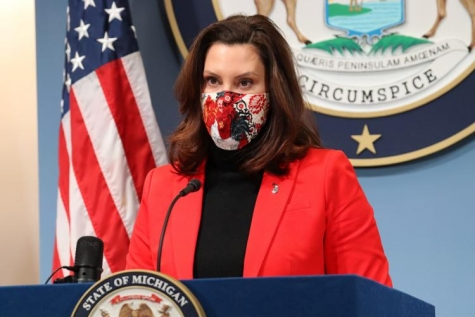 Gov. Gretchen Whitmer delivers remarks at her Feb. 17 news conference.