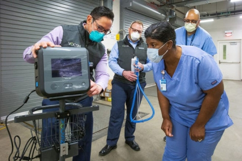 Ventec Life Systems clinical team members in April show respiratory and clinical staff at Franciscan Health Olympia Fields Hospital in Chicago how to operate VOCSN critical care ventilators.