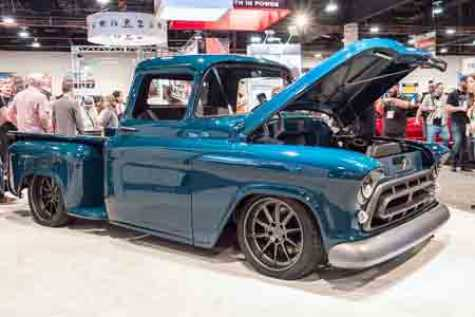 "1957 Truck, Chevy Montage, built by Bogi's Garage and nearly 100 women from all over the country. Coated in BASF's R-M custom color, ""Tenacious Teal."""