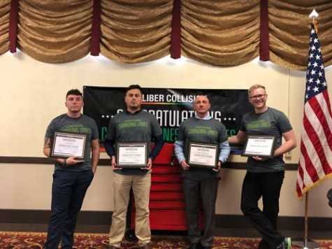 The first Fort Carson graduates from the Changing Lanes Falcon Academy are (left to right): specialist Patrick Horn of Oakland, CA; specialist Adrian Jimenez Cruz of Salinas, CA; master sergeant Robert Apfelbaum and specialist McKinley Kerns, both of Colorado Springs.