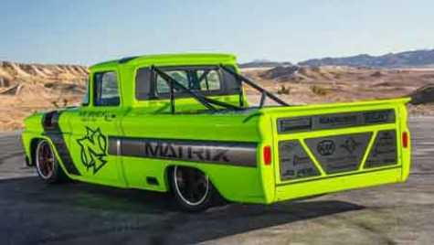 The green 1960 C10 truck that Justin Nichols built for the SEMA show in Las Vegas.