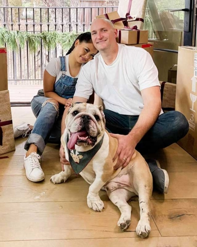 Nathan Simmons, pictured with his wife, Joyce, and bulldog, Winston, co-owns C&C Collision in Alhambra, CA, and has been growing and selling Bonsai trees for the past two decades.