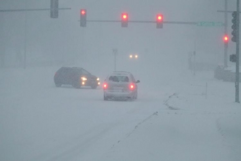 Severe winter weather slows traffic in Lincoln, NE.