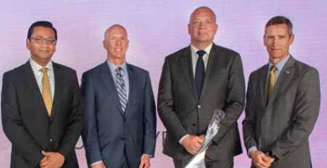 Left to right: Anirvan Coomer (Executive Director Global Purchasing and Supply Chain, GM), Sean McKeon (Vice President, OEM Coatings, BASF), Dirk Bremm (President, BASF's Coatings division) and Greg Warden (Executive Director and Global Functional Leader - Body Engineering, GM) at the GM Supplier of the Year award ceremony.