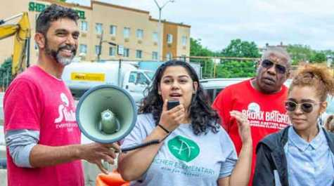 Left to right: Banana Kelly's Improvement Association director of Organizing Gregory Jost and The Southern Boulevard Coalition's Megan Khan and Dalyla Santiago.