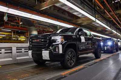 A GMC Sierra 1500 pickup on the assembly line May 14, 2019, at the General Motors Fort Wayne Assembly plant in Roanoke, IN.