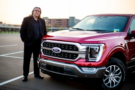 Mark Sich, design manager of the 2021 Ford F-150, is standing next to the King Ranch in September 2020.