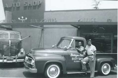 Tom Bistagne (in truck) and George Bistagne circa 1950