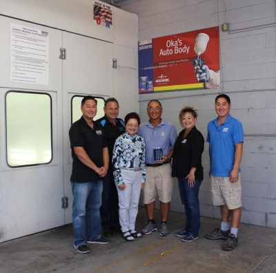The Okahara family at Oka's Autobody (L to R): Brandon, Carl, Marlene, Eddie, Marlo and Kyle. The shop received the SBA Family-Owned Small Business of the Year Award.