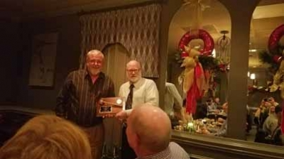 IGONC Triangle Chapter President Steve Poole (right) presented plaque to past president Stan Creech.