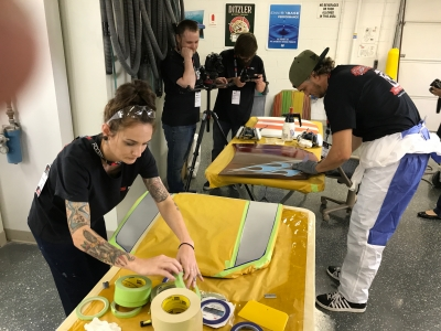 Connie Manjavinos was the only female painter featured at the 3M Automotive Aftermarket PPS World Cup in Detroit, MI, in August.