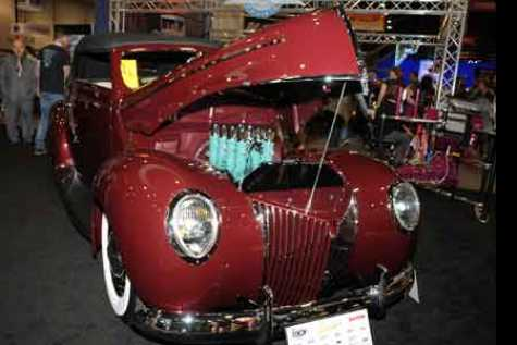 "1940 Ford Convertible by Gooslby Customs, winner of the 2017 Glasurit Best Paint Award, painted in the exclusive Glasurit 55 Line color, ""Glasurit Cabernet, Goolsby Edition."""