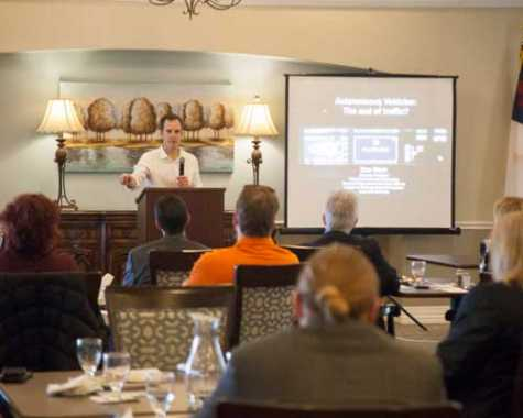 Dan Work, an associate professor at Vanderbilt University, speaks to Mt. Juliet Chamber of Commerce members about autonomous vehicles and the future of traffic in Middle Tennessee.