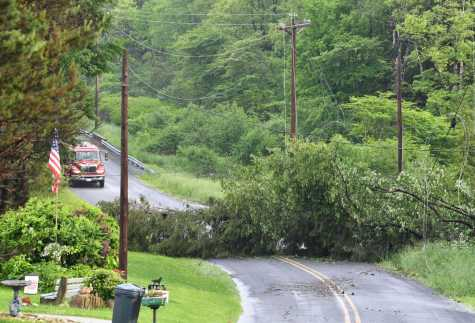 A storm caused a tree to fall across Killen School Road in Barr Township, PA, on Wednesday, May 29.