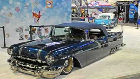1956 Pontiac Star Chief Convertible by Customs by Kilkeary, awarded at SEMA Accuair Top 10, Battle of the Builders Top   40, and Goodguys Gold Award; painted in the Glasurit 90 Line.