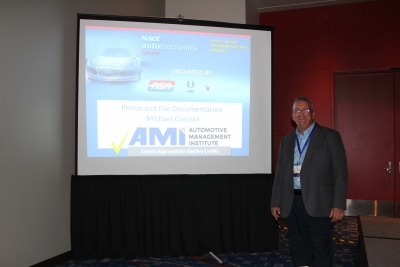 Mike Cassata, owner of Hammer Insights, during NACE Automechanika 2017.