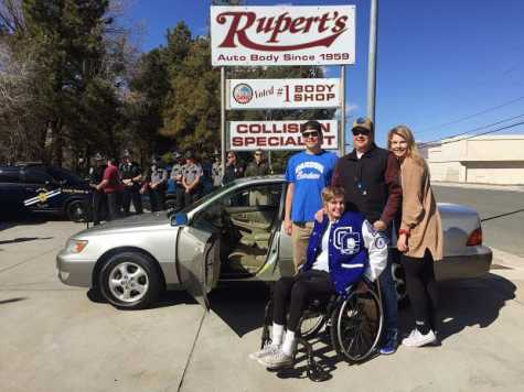 Stefanie Schmidt, 15, who was one of seven teens involved in a rollover accident in Kings Canyon in November, received a car from Rupert's Auto Body on March 23. She was accompanied by her brother, Zach, 18; father, Mike; and sister, Arianna, 19.