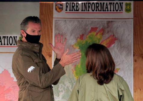 Sen. Kamala Harris, the Democratic vice presidential nominee, met with Gov. Gavin Newsom and CalFire officials Sept. 15 to review the devastation of the Creek fire in Pineridge, CA.