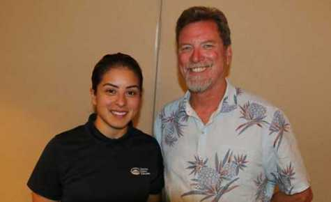 Laura Salas (left) was one of Peter Lock's top students at Contra Costa College's automotive collision repair technology program before she replaced him as co-chair of the automotive services department in 2016.